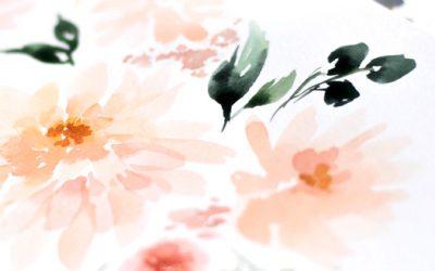 Watercolor Behind the Scenes: Peach and Cream Dahlias