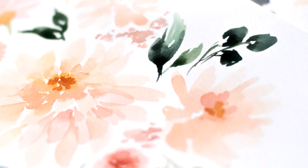 Watercolor Behind the Scenes: Peach and Cream Dahlias