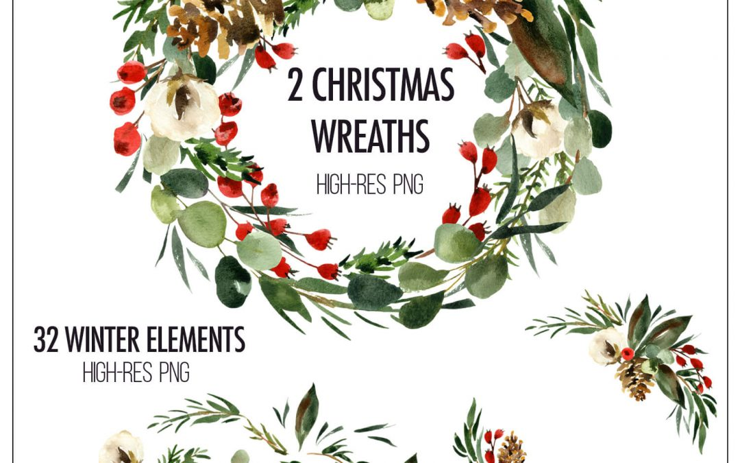 Free Christmas Watercolor Cliparts and Tutorial