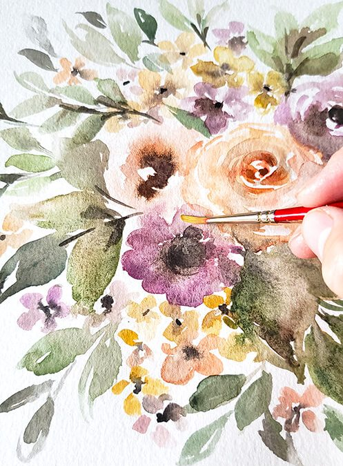 How to Easily Layer Flowers and Add Complexity to Your Floral Watercolor Painting