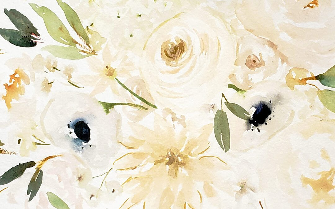 White Flower Watercolor Tutorial For Beginners